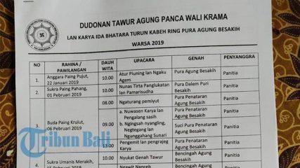 Berikut Rangkaian Upacara Panca Wali Krama di Pura Besakih, Dimulai 22 Januari